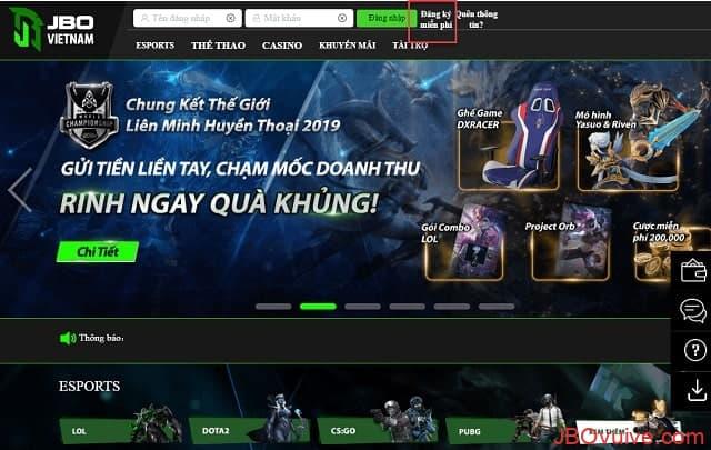 Đăng ký tài khoản trên JBO để chơi cá cược Warcraft 3 tại JBO