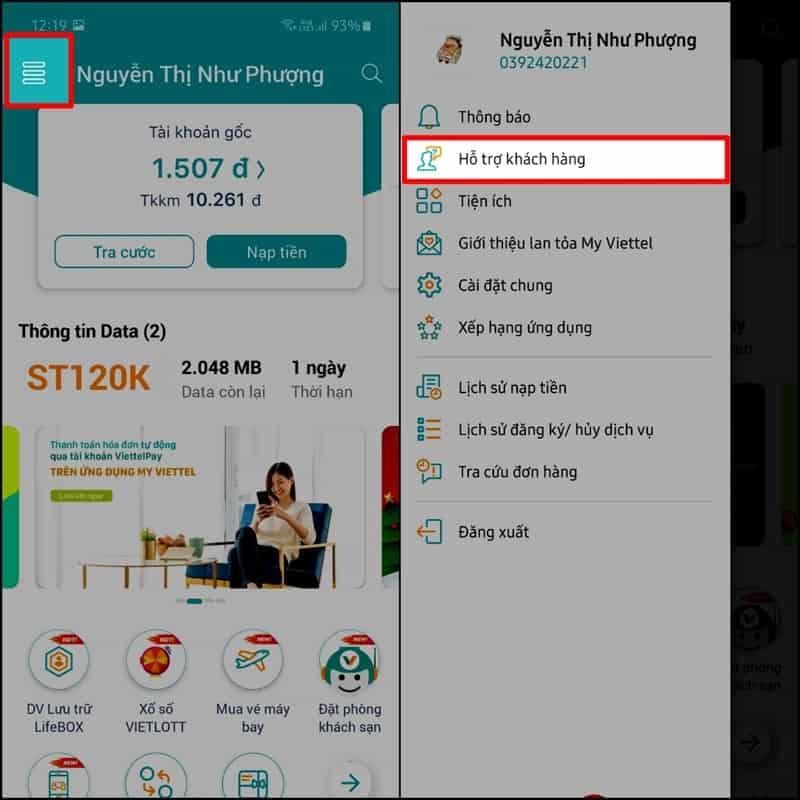 Bước 2: Đăng nhập tài khoản và số điện thoại mà bạn đang sử dụng