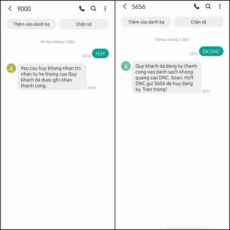 Từ chối các tin nhắn từ tổng đài Viettel ++ và các dịch vụ DNC