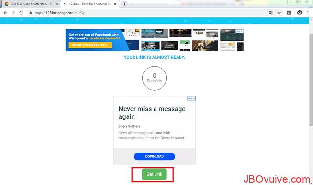 Chọn Get link để hoàn thành tải ảnh từ Shutterstock