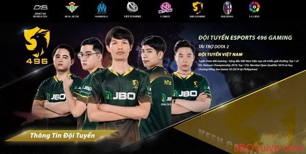 JBO là nhà tài trợ đội tuyển Việt Nam - Dota 2