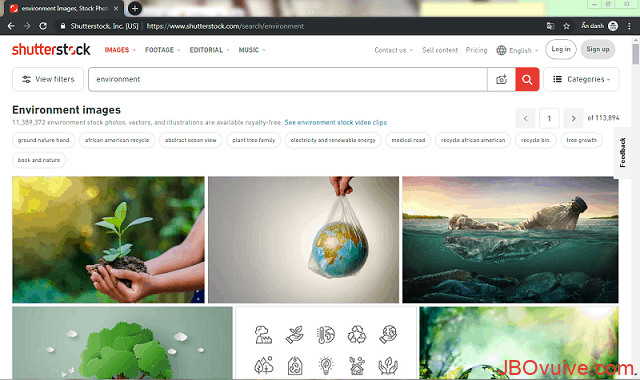 Truy cập vào trang web Shutterstock